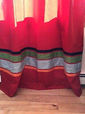 "Pair Red Tab Curtains With Blue/Green/Orange Stripe 52 1/2"" Wide X 82"" Long"
