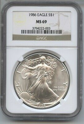 1986 American Eagle Silver Dollar 1 oz NGC MS 69 Certified - One Ounce BA488