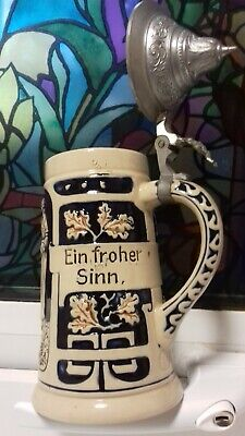 Vintage Collectable Small German Pottery Tankard with Pewter Lid - Dated 1905