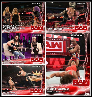 TOPPS WWE SLAM CARD TRADER RAW RECAP March 18 COMPLETE SET 5 CARDS Rico Kurt ++
