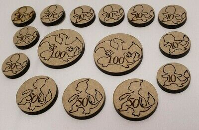 POKEMON CARD WOODEN Damage Tokens Counters pack Custom