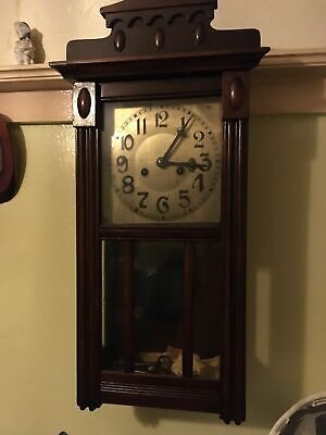 Traditional Antique Grandfather Wood Wall Clock with Pendulum and Key-