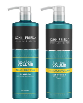 John Frieda Luxurious Volume Shampoo & Conditioner 500ml Salon Size Pump Bottles