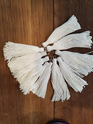 10 pces 8cm long cotton tassel white macrame cushion runner rug bag dyi craft