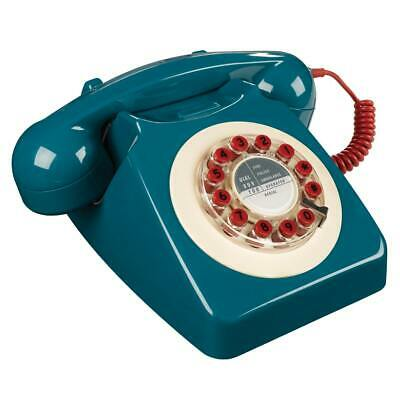 746 Phone 1960's Classic Design Blue WILD & WOLF Push button Corded FREE POSTAGE