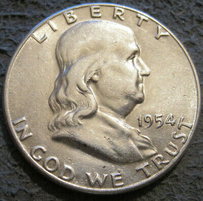 As Shown - 1954 S Franklin Half Dollar // 90% Silver // Mc 552