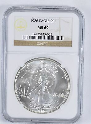 MS69 1986 American Silver Eagle - Graded NGC *941