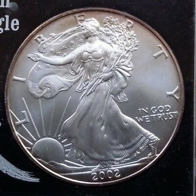 2002 1 oz Silver American Eagle (Brilliant Uncirculated) Encased In Placard W/FS