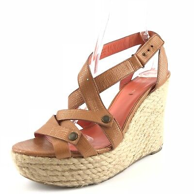 ef418954a98 Via Spiga Karla Brown Leather Wedge Espadrille Sandals Women s Size 10 M