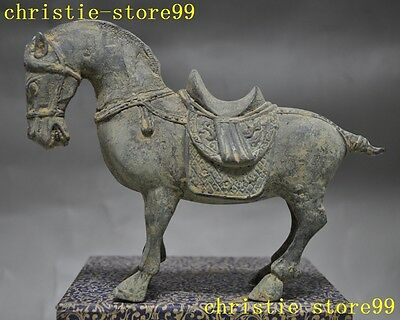 """6""""rare Old Chinese fengshui old bronze copper Zodiac animal horse Horses statue"""