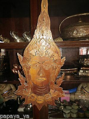 Antique(3D)Wooden Carved Handmade Buddha Mask Wall Hanging Decorative Art Rare