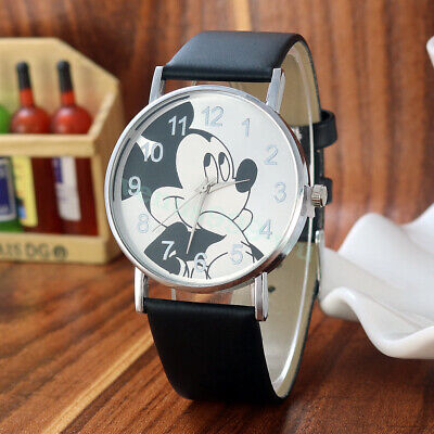 NEW VERSION Mickey Mouse Leather Wrist Watch Girl Women Cartoon Kids Watches