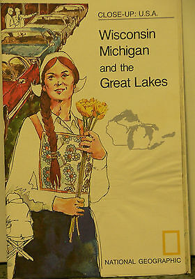 Vintage 1973 National Geographic of Wisconsin Michigan and the Great Lakes..