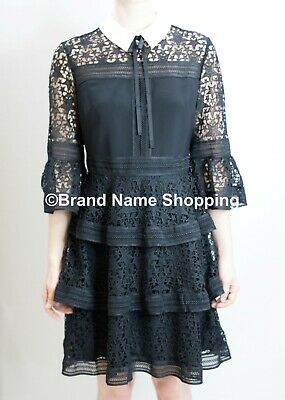 LIMITED QTY AUTH TED BAKER REBEKHA Joyous high neck ruffle dress Black $349 45