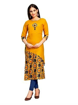 Party Wear Yellow Color Rayon Printed Solid Stitched Designer Women Kurti