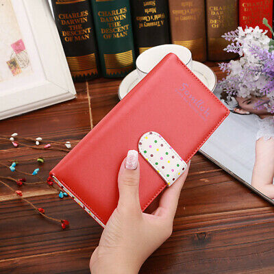 Women Lady Girls PU Leather Wallet Card Holder Purse Long Handbag Watermelon Red