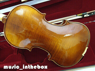 Good Quality with nice sound 4/4 Flamed Back Violin+Bow+Rosin+Case+String #Q431