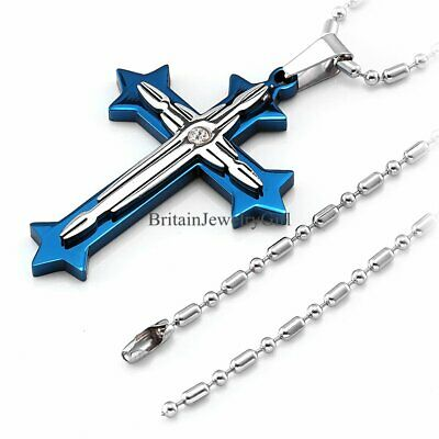 """22"""" Blue Silver Tone Stainless Steel Cross Pendant Necklace Chain for Men Women"""