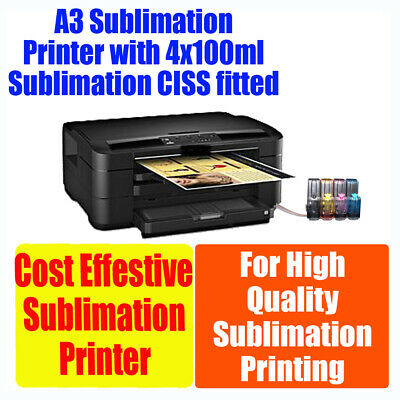 Sublimation A3 printer 4 colours with CIS fitted (4x100ml ink included)
