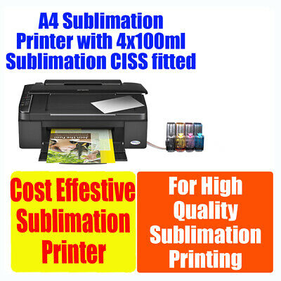 Sublimation A4 printer 4 colours with CIS fitted (4x100ml ink included)