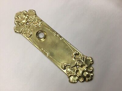 Antique Door Push Plates Plate Pressed Brass Old Nos Gold Col Victorian Handle