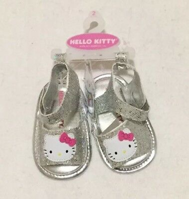 1d17dfed9 Hello Kitty Sandals Size 6-9 Months Baby Girl Silver Sparkle Flat Sandals  NWT