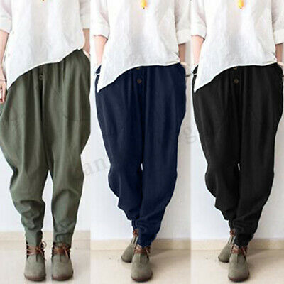 ZANZEA 8-24 Women Pull-On Elastic High Waist Tapered Pants Plus Size Trousers