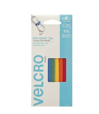 VELCRO Brand ONE-WRAP Ties -8 in x 1/2 in- 5 Pack Strong & Reusable Cable Straps