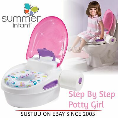 Summer Infant Step By Step Potty│Kid's Toilet Trainer│Soft Seat Stand│Girl│
