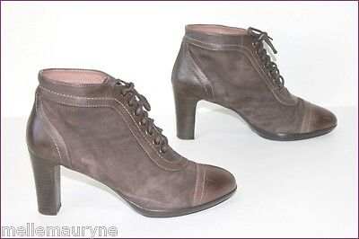 Argenta Boots Lace Leather Brown Velvet T 39 Top Condition