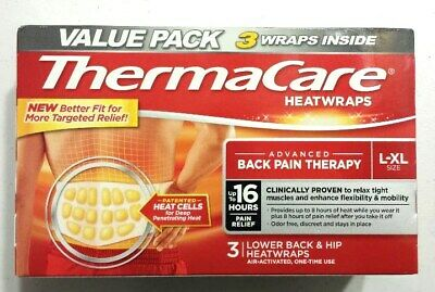 New 3 Count ThermaCare Advanced Back Pain Therapy L-XL Size