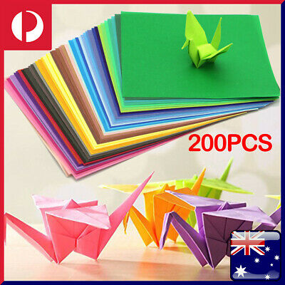 200 Sheets Mixed Colours Origami Square Paper Craft Folding 15x15cm Single Sided