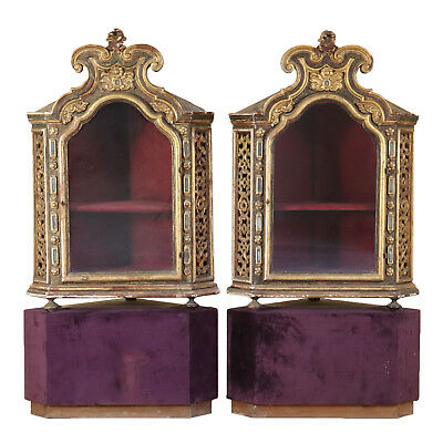 Pair of Corner Glass Cabinets Wood Italy Late 1700s