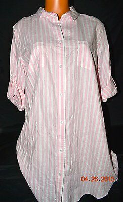 Victorias Secret Iconic Stripe Shimmer Flannel Sleepshirt Night Gown NWT S