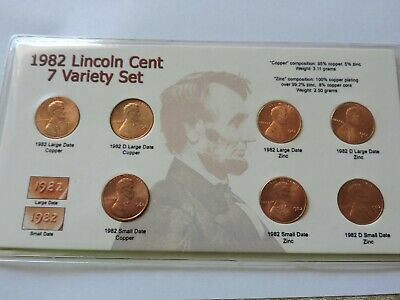 1982 Lincoln Memorial Cent 7 Coin Set P & D Large & Small Date Copper & Zinc  H2