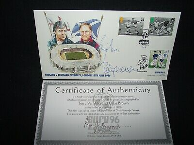 GB Euro 96 stamp cover , England v Scotland signed Terry Venables & Craig Brown