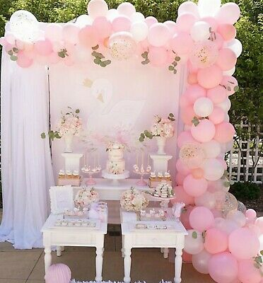 Pink, White & Rose Gold Confetti Balloon Garland Kit-Party Decorations-Birthday