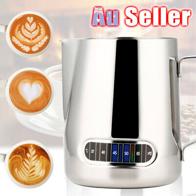 600ml Jug Pitcher Thermometer Coffee Espresso Milk Stainless Steel Frothing