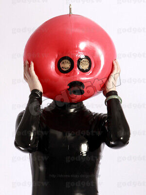 100% Latex Rubber Gummi Inflatable Mask Hood 0.8mm With Tube Red Catsuit Deluxe