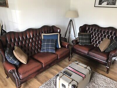 Chesterfield Three Seater Chair, Two Seater Chair (oxblood) Wing Chair (green)