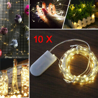 10 Pack 20 Battery LED Micro Rice WIRE STRING FAIRY PARTY WEDDING Xmas LIGHTS 2M