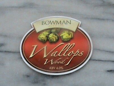 Bowman Wallops Wood real ale beer pump clip sign