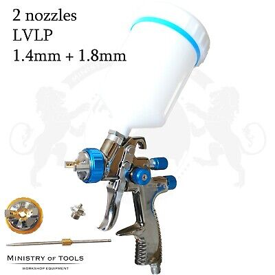 LVLP Spray gun with 2 nozzles 1.4 and 1.8mm L-898 AUARITA Low Volume Low Pressur