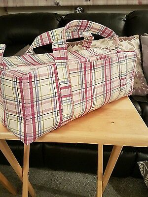 Large Knitting Bag Handmade 100% Cotton Pink Check Fully lined with front Pocket