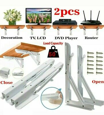 2 x Table Worktop Folding Shelf Support Brackets Wall Mounted Hinged Spring Pair