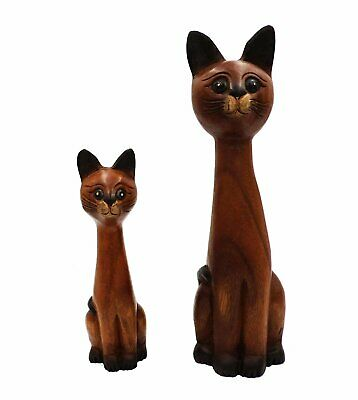The Online Bazaar Pair of Wooden Cat Statues Hand Carved Fair Trade Home...