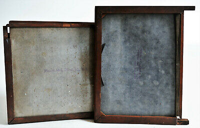 """VERY OLD x2 Vintage Wood 5x7"""" Dry Glass Plate Film Holder Parts or Repair"""