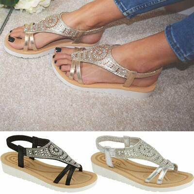 Ladies Memory Foam Low Wedge Sandals Summer Beach Fashion Strappy Gladiator Shoe