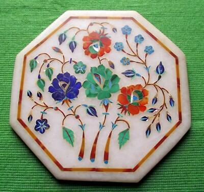 Old Grand Tour PIETRA DURA White marble OCTOGON Blue Orange FLORAL Mosaic Plaque