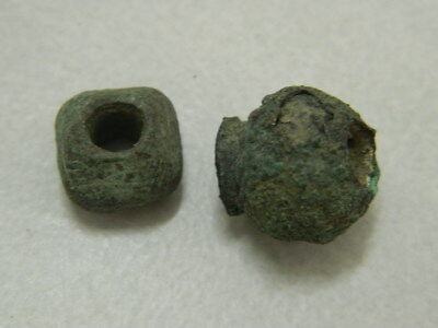 Ancient Bronze 2 Beads Bactrian 300 BC  #GL1699